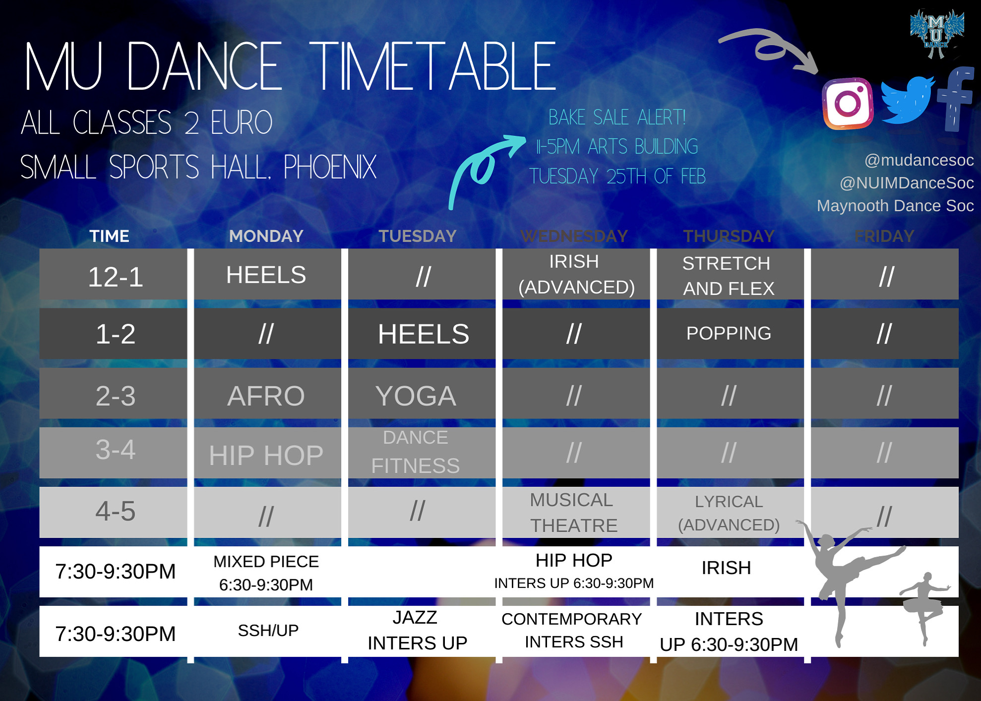 Weekly Timetable (24th-28th of Feb)
